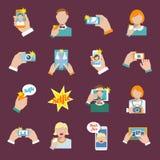 Ícones de Selfie lisos Fotografia de Stock