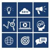 Ícones de SEO ajustados Imagens de Stock Royalty Free