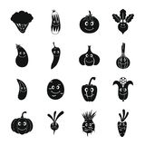 Ícones de sorriso ajustados, estilo simples dos vegetais Imagens de Stock Royalty Free