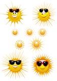 Ícones de Sun. Óculos de sol Imagens de Stock Royalty Free
