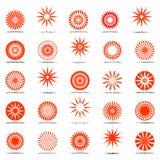 Ícones de Sun. Jogo de elementos do projeto. Foto de Stock