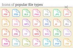 Ícones de tipos de arquivo e de extensões de arquivos populares Imagem de Stock Royalty Free