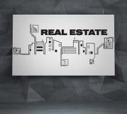 Ícones de tiragem dos bens imobiliários Fotografia de Stock Royalty Free