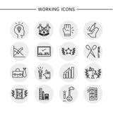 Ícones de trabalho do vetor ajustados no fundo branco Fotografia de Stock Royalty Free