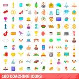 100 ícones de treinamento ajustados, estilo dos desenhos animados Fotografia de Stock