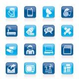 Ícones de uma comunicação, da conexão e da tecnologia Fotos de Stock Royalty Free