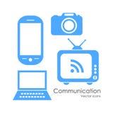 Ícones de uma comunicação da tecnologia ilustração stock