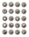 Ícones de uma comunicação de Brown Fotos de Stock Royalty Free