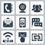 Ícones de uma comunicação do vetor ajustados Fotos de Stock Royalty Free