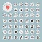 Ícones de uma comunicação e ícone da tecnologia no papel azul Fotos de Stock