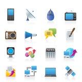 Ícones de uma comunicação e da tecnologia Fotografia de Stock Royalty Free