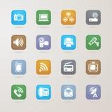 Ícones de uma comunicação e dos meios ajustados ilustração stock