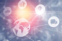 Ícones de uma comunicação global Fotos de Stock