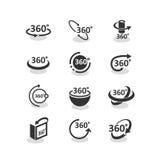 ícones de uma rotação de 360 graus ajustados ilustração stock