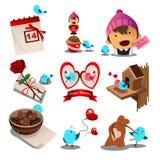 Ícones de Valentine Day Fotografia de Stock