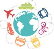 Ícones de veículos de transporte em torno da terra ilustração royalty free