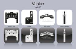 Ícones de Veneza ilustração royalty free