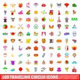 100 ícones de viagem ajustados, estilo do circo dos desenhos animados Imagem de Stock Royalty Free