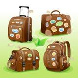 Ícones de viagem de uma mala de viagem, de um saco, de uma pasta e de uma trouxa Imagens de Stock Royalty Free