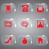Ícones de vidro ajustados vermelhos Fotografia de Stock