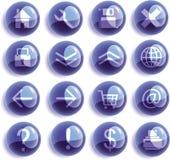 Ícones de vidro azuis do Web, teclas Fotografia de Stock Royalty Free