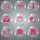 Ícones de vidro cor-de-rosa da cor ajustados Imagem de Stock Royalty Free