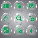 Ícones de vidro vetor verde ajustado Foto de Stock Royalty Free
