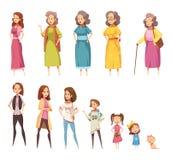 Ícones decorativos da geração das mulheres ajustados ilustração do vetor