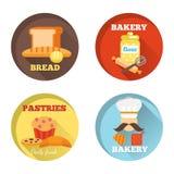 Ícones decorativos da padaria Fotografia de Stock