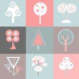 Ícones decorativos das árvores Fotografia de Stock Royalty Free