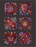 Ícones decorativos desenhados à mão do dia de Valentim Ilustração Royalty Free