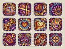 Ícones decorativos desenhados à mão do dia de Valentim do vetor Ilustração Stock