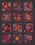 Ícones decorativos desenhados à mão do dia de Valentim do vetor Ilustração do Vetor