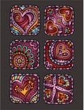 Ícones decorativos desenhados à mão dos corações do dia de Valentim Ilustração do Vetor