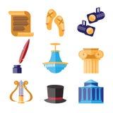 Ícones decorativos do desempenho de teatro ajustados Imagem de Stock Royalty Free