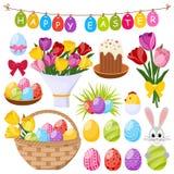 Ícones decorativos do dia da Páscoa ajustados