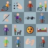 Ícones deficientes ajustados Imagens de Stock Royalty Free