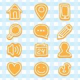Ícones deliciosos e agradáveis dos bolinhos ajustados Imagens de Stock Royalty Free