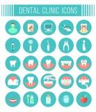 Ícones dentais do plano de serviços da clínica Fotos de Stock