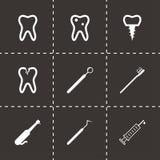 Ícones dentais pretos do vetor ajustados Fotografia de Stock Royalty Free