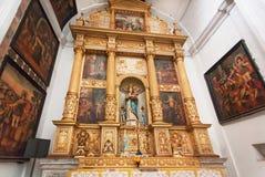 Ícones dentro da catedral histórica de Santa Catarina do SE construída em 1640 Imagens de Stock Royalty Free