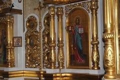 Ícones dentro da igreja ortodoxa Fotos de Stock