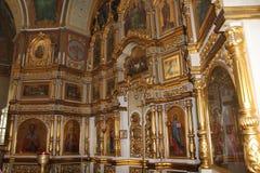 Ícones dentro da igreja ortodoxa Foto de Stock