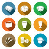 Ícones descartáveis dos utensílios de mesa Imagens de Stock