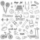 Ícones desenhados à mão do esporte e da aptidão ilustração do vetor