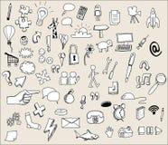Ícones desenhados mão Fotografia de Stock