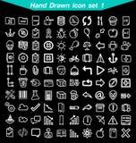 Ícones desenhados mão ajustados Imagens de Stock Royalty Free