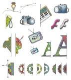 Ícones desenhados mão do FS do vetor Fotografia de Stock