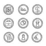 Ícones desenhados mão do negócio Fotos de Stock Royalty Free