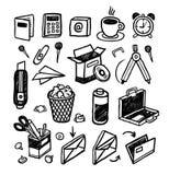 Ícones desenhados mão dos artigos de papelaria Fotos de Stock Royalty Free
